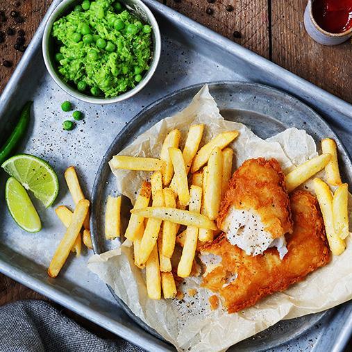 Fish & Chips med ärtpuré
