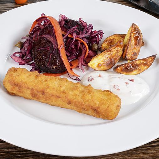 Fish'n Chips roll med rostad potatis och sallad