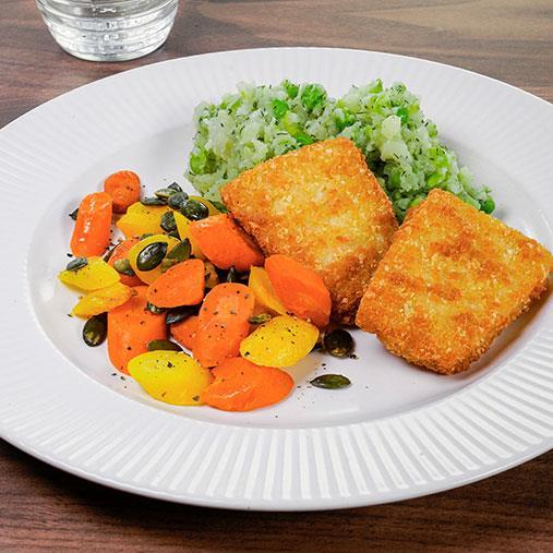 Frasbakad torsk med ärt- och potatismos