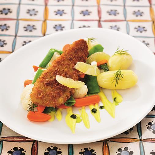 Skeppartorsk med herrgårdsgrönsaker, kokt potatis och grönsaksbearnaise