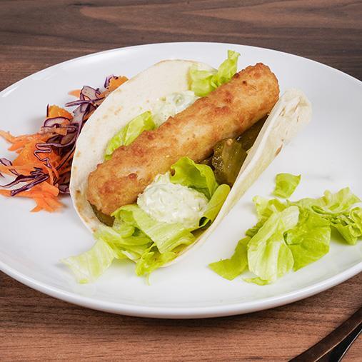 Taco med Fish'n Chips och ärtig sås