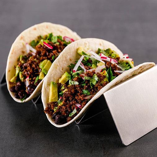 Grön taco med Pease och svarta bönor