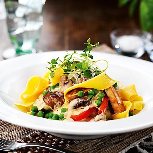 Krämig pastasås med Quornfilé och svamp