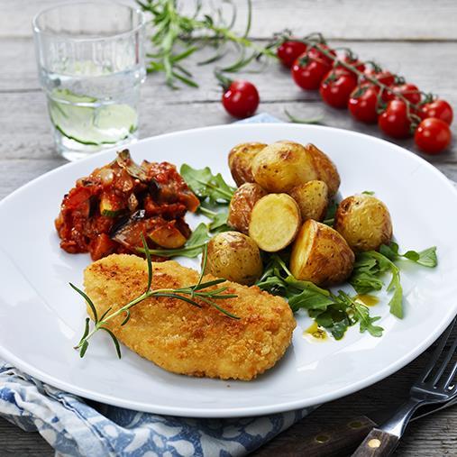 Quorn schnitzel med ratatouille och rostad potatis