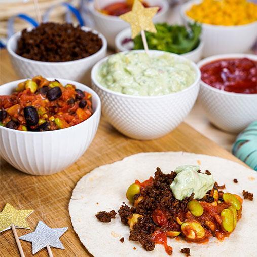 Tacos med Pease färs och avokadocrème