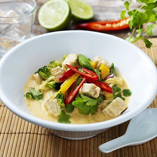 Thaisoppa med Quornbitar och wokgrönsaker