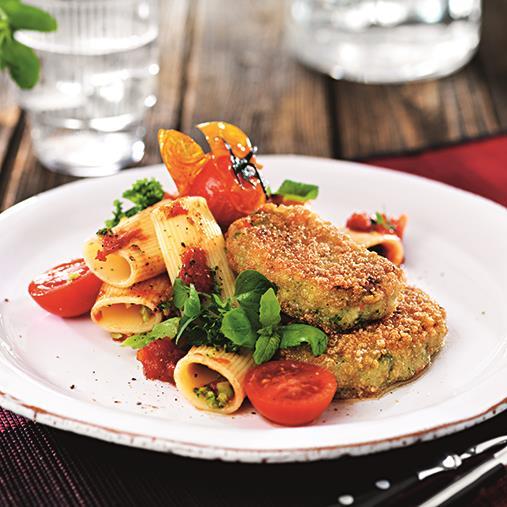 Tomatrigatoni och broccolimedaljong