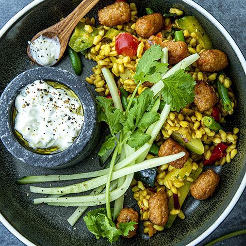 Veggie boulette med vetekornspilaff