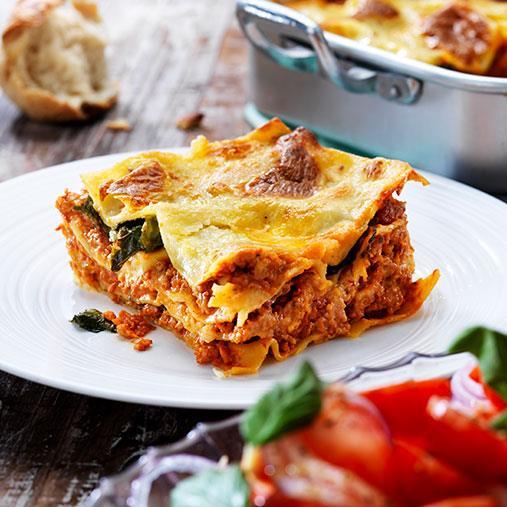 Veggie färs lasagne med spenat
