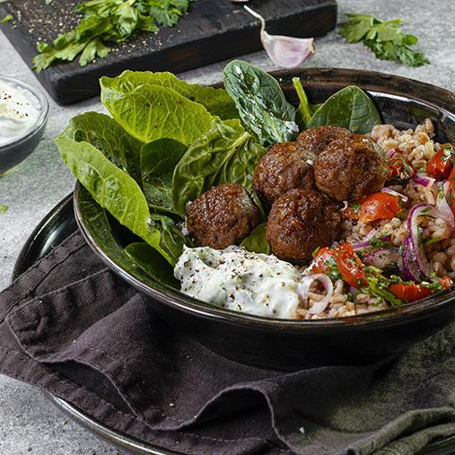 Vegobullar med matvete och tzatziki