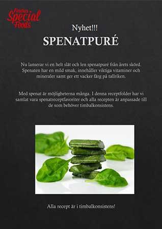Findus Special Foods framsida folder med timbalrecept på spenatpuré