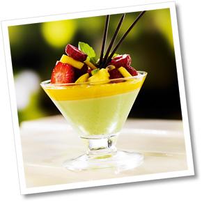 Grönärtspannacotta med mango
