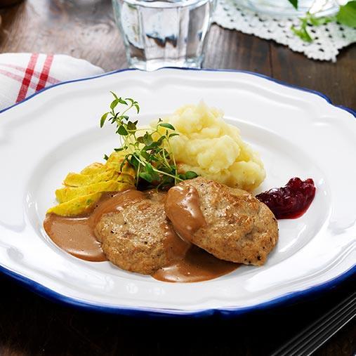 Grov oxpaté med gräddsås och potatismos