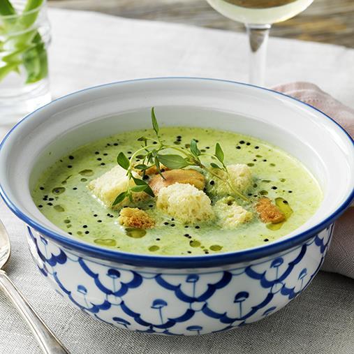 Broccoli- och ostsoppa med krutonger