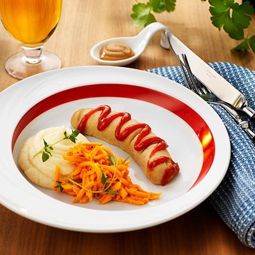 Kokt korvtimbal med potatismos och gurkkräm