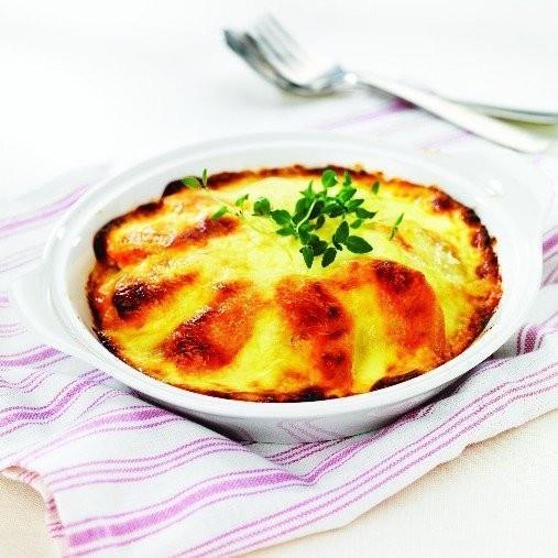Kött- och potatismosgratäng