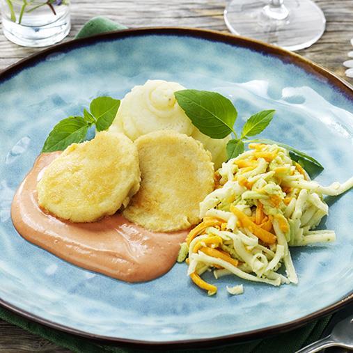 Palsternacksbiff med potatispuré, timbalsallad & sås