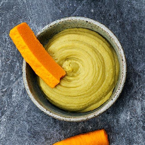 Grön bönpuré med brynt smör
